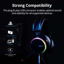 Auriculares Gaming Glary con sonido virtual 7.1