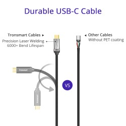 Tronsmart CPP9 Braided Nylon USB-C to USB-A 3.0 Charging & Syncing Cable (1 ft*1, 3.3 ft*1, 6 ft*1/3 Pack)