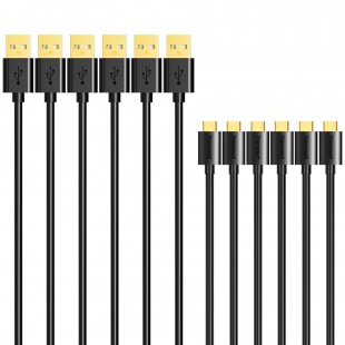 Tronsmart MUPP8 Premium USB Cables 6 Pack (1ft*1+3.3ft*2+6ft*3 ) with Gold Connector