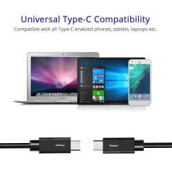 Tronsmart [2 Pack] CC04P Type-C (USB-C) Male to Type-A (USB-A) 2.0 Male Sync & Charging Cable (3.3ft, 1 x Black, 1 x White)